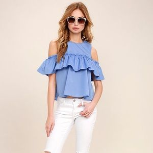 Lulu's Such A Doll Cold Shoulder Periwinkle Top